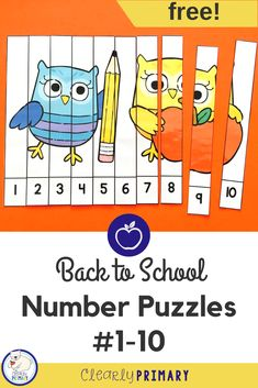 Looking for a fun and free math activity for back to school? Practice numbers 1-10 with these number puzzles. Perfect for preschool and kindergarten or first grade review. #preschool #kindergarten #numbersto10 #backtoschool