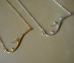 """""""Dainty Antler Necklace""""  Dainty and Antler don't belong in the same sentence let alone on a necklace!"""