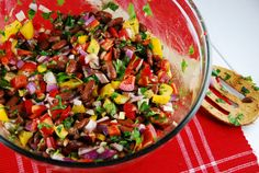 Checkout this hearty and delicious Kidney Bean Salad Recipe at LaaLoosh.com! It's a fiber and protein packed Weight Watchers vegan recipe that is as lovely as it is delicious.