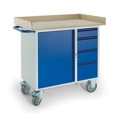 GTARDO.DE:  Werkstattwagen 4 Schubladen 1 Stahlschrank Holzrand, Tragkraft 400 kg 526,00 €