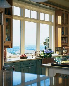 Pella® Architect Series® casement windows - Contemporary - Kitchen - Other Metro - Pella Windows and Doors -my forever home Sunroom Windows, Pella Windows, Casement Windows, Windows And Doors, Kitchen Windows, Exterior Windows, Wood Windows, Kitchen Cabinets With Sink, Upper Cabinets