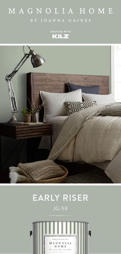 EARLY RISER Magnolia Home by Joanna Gaines EARLY RISER Magnolia Home by Joanna Gaines KILZ Primers and Paint kilzbrand Magnolia Home A near neutral with nbsp hellip master bedroom joanna gaines Grey Green Bedrooms, Green Bedroom Colors, Green Bedroom Paint, Green Master Bedroom, Earthy Bedroom, Bedroom Wall Colors, Bedroom Color Schemes, Bedroom Neutral, Gray Bedroom