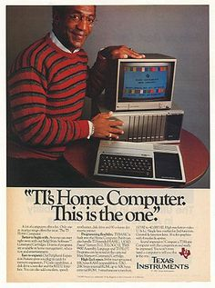 old computer advertising, Texas Instruments, Bill Cosby.