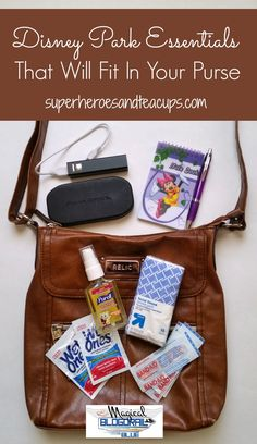 We all have Disney park essentials that we can't be without. You would be surprised what will fit in a purse!