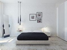 white brick wallpaper bedroom - Google Search