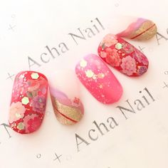 Asian Nail Art, Asian Nails, New Year's Nails, Love Nails, Pretty Nails, Pretty Nail Designs, Gel Nail Designs, Kawaii Nail Art, Graduation Nails