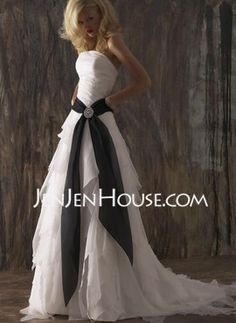 A-Line/Princess Strapless Chapel Train Organza  Satin Wedding Dresses With Ruffle  Sashes (002012226)