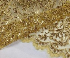 Lace Fabric, Gold Sequin Lace Fabric, Guipure Lace Fabric, Wedding Lace Fabric, 47 inches Wide for Dress, Costume, Craft Making, 1/2 Meter