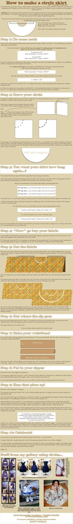 Tutorial: Circle Skirts by `taeliac on deviantART #cosplay #sewing
