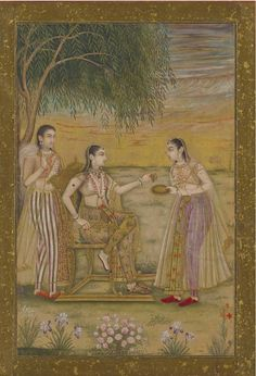 Mughal India.. princess with her maid..