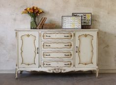 Vintage French Sideboard Buffet Dresser - want for under my TV White Painted Furniture, Chalk Paint Furniture, Distressed Furniture, French Furniture, Home Decor Furniture, Furniture Projects, Vintage Furniture, French Sideboard, French Dresser