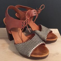 """Madewell Pony Hair striped heeled sandals Madewell blue and white striped hair fabric platform sandals. 4"""" heel plus 3/4"""" platform. There's a little worn bit in the hair (see pic) from being in the back of the closet. Otherwise in great shape! Lovely shoes. Comes in box. Madewell Shoes Sandals"""