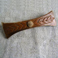 Vintage wooden barrette bow hair slide handmade wood by MyWealth