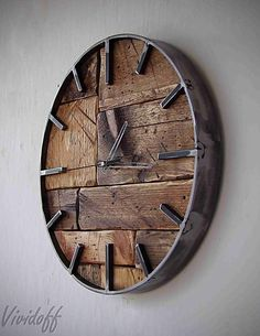 sk – Handmade Clock - Source by dursunkenan Gold Wall Clock, Rustic Wall Clocks, Wood Clocks, Diy Wall Clocks, Clock Tattoo Design, Wall Clock Design, Handmade Clocks, Handmade Home, Palettes Murales