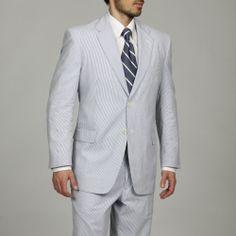 Adolfo Men's Blue/ White Seersucker Suit | Overstock.com Shopping - Big Discounts on Adolfo Suits