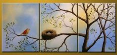 100% Hand Painted Artwork Bird at Tree 3 Piece Wall Art Oil Painting Modern Art Canvas Art Gallery Wrapped Stretched and Ready to Hang by Paintingworld, http://www.amazon.com/dp/B00B9N5TDK/ref=cm_sw_r_pi_dp_Ys-Xrb11YPWZ8