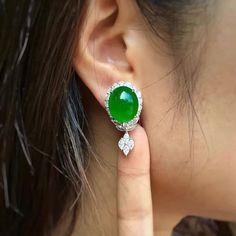 Earrings #jadeite #diamonds#jewelry