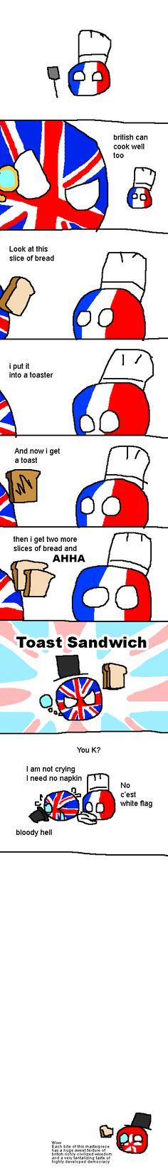 """British can into cook"" ( UK, France, Hong Kong ) by SunnyChow #polandball #countryball #flagball"