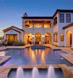 Architecture Home Cimarron hacienda pool fountain