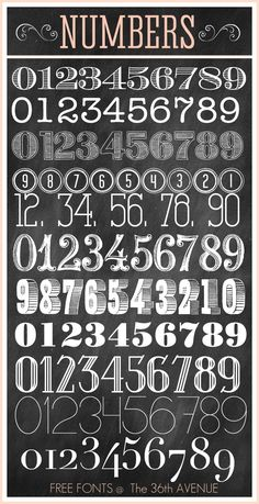 Free Fonts and Printable Combinations - Chalkboard number fonts Chalkboard Writing, Chalkboard Fonts, Chalkboard Designs, Chalkboard Numbers, Chalkboard Lettering Alphabet, Chalkboard Doodles, Vintage Chalkboard, Chalkboard Paint, Chalk Lettering