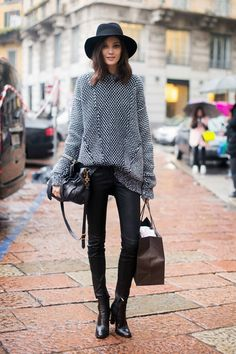 MODEL-OFF-DUTY: DIANA MOLDOVAN | FEDORA + TEXTURED KNIT - Le Fashion