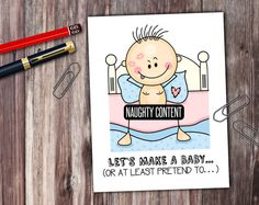 Naughty Stick People Lets Make A Baby Card  by PrintThatSign