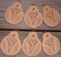 6 Primitive Stitchery Snowmen Ornaments with by thetalkingcrow, $18.00