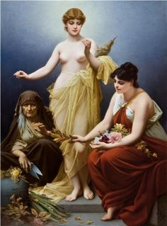 A large and important KPM porcelain plaque of the three Fates KPM, Royal Porcelain Manufacture, Painted by Louis Scherf (1870-1955)  The three Fates, Atropos, Clotho and Lachesis are finely polychrome painted. Atropos, the oldest of the three women, is sitting on the left of the painting. In her right hand she holds a pair of scissors cutting the life thread of humans. Lachesis, on the right, is measuring it and Clotho, represented as youthful beauty... Berlin, c. 1908  US$100.000