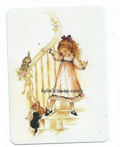 z26 SINGLE swap playing cards PRETTY VINTAGE STYLE LITTLE GIRL on stair with cat