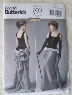 Butterick B5969 Sewing Pattern Steampunk Victorian Era Corset Skirt Size A5 6 - 14