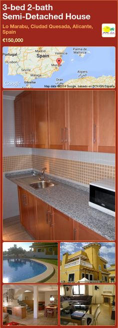 New build properties for sale Murcia. New build and resale property agents in the Costa Blanca, Costa Calida and Murcia areas in Spain Semi Detached, Detached House, Murcia, Alicante, New Builds, Property For Sale, Spain, Kitchen Cabinets, Bath