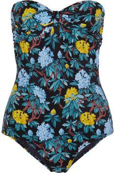 MIU MIU Floral-print bandeau swimsuit