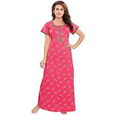 Night Dress For Women, Night Gown, Color Combos, Short Sleeve Dresses, Gowns, Amazon, Printed, Cotton, Stuff To Buy