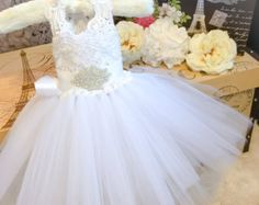 """NEW Princess Collection """"The Charlotte Dress""""-White Flower Girl Dress-Lace Dress-Christening Dress-Baptism Dress-Ivory Flower Girl Dress"""