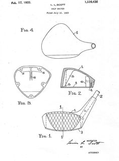A copy to the patent drawings for the first metal golf driver, 1925.