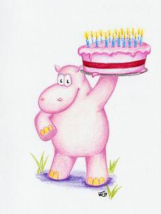 Birthday Hippo by ~Derfblue on deviantART