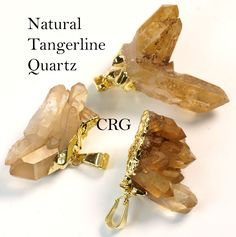 Gold Plated Tangerine Quartz Cluster Pendant (CL11CN) - Crystal River Gems