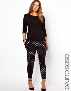 ASOS Curve | ASOS CURVE Peg Trouser In Spot Print at ASOS