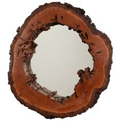 Circular Mid Century Mirror with Natural Wood Frame