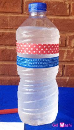 Wrap water bottles in washi tape when decorating!  www.GetWashi.com