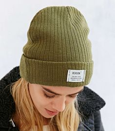 Reason Patch Ribbed Knit Beanie in Olive