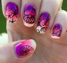 Nailpolis Museum of Nail Art | Tropical by Meggy- Nail Polish used:  Claire's lovely,  Claire's PASTEL NEONS,  Stamping plate Harunouta L012,  China Glaze Summer Reign,  China Glaze Sun-Set The Mood