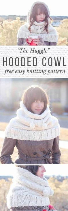 This hooded cowl free knitting pattern is a true showstopper! Make this modern (and super easy!) statement piece while practicing knitting in the round.