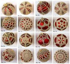 crochet on Christmas balls