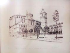 "Plaza mayor de Infantes(C,Real)vista a traves de un espejo""litografia""Carmen Muñoz Tejedor."