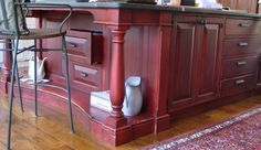 Large 7ft X 11ft Island with antique red crackle finish and soap stone counter. Kitchen Canvas, French Country Living Room, Soapstone, Kitchen Islands, Kitchen Countertops, Old Houses, Future House, Kitchen Ideas, Farmhouse