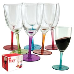 Unlike your guests, the Tipsy Swirling Wine Glasses may weeble and wobble but won't fall down! They're designed to make you feel like you've had too much even if you haven't had any at all. That's because each rocks back and forth on a ball beneath the base, making its contents swirl 'round and 'round. The beauty of it all is that they won't spill their contents when they're swirling.