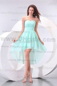 Looove this! Wholesale 2013 Inexpensive simple sweetheart aqua A-Line Hi-Lo party dresses bridesmaid dress pageant PG005, Free shipping, $58.24-80.64/Piece | DHgate