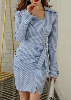 Amazing blue shirt dress design, love it so much - LadyStyle - striped dress summer outfits summer dress outfit blue summer dress outfit blue summer dress outfit outfits baby blue dress - blue dress outfit - Summer Blue Dresses 2019 Trend Fashion, Look Fashion, Womens Fashion, Fashion Design, Fashion 2020, Dress Outfits, Casual Outfits, Fashion Dresses, Casual Dresses