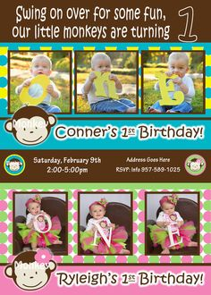 Boy Girl Twin Party Ideas | ... Boy Girl - 1st Birthday Party Twins pictures invite - 1 year old
